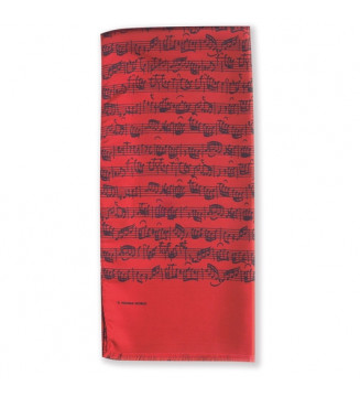 Silk scarf Sheet music red